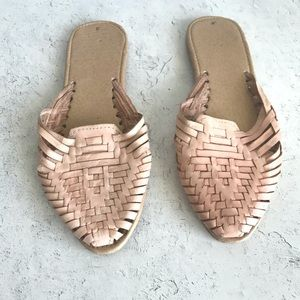 Pink Leather Woven Hurache Mules Size S